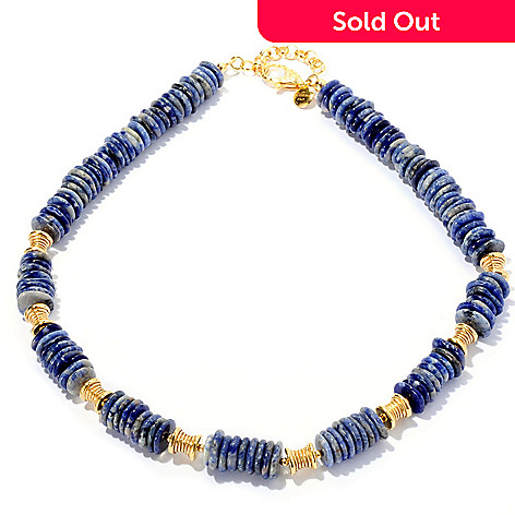 128-081 - Toscana Italiana Gold Embraced™ 18'' Sodalite Disk Fancy Station Necklace