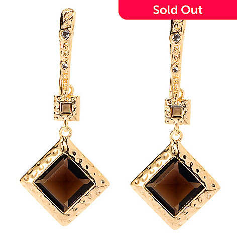 128-084 - Toscana Italiana Gold Embraced™ 3.69ctw Smoky Quartz & White Topaz Earrings