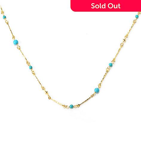 128-086 - Toscana Italiana 18K Gold Embraced™ 60'' Turquoise Bead Martellato Link Station Necklace