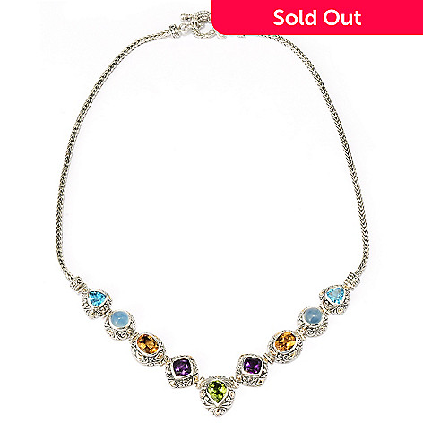 128-093 - Artisan Silver by Samuel B. 18'' Peridot & Multi Gemstone Necklace