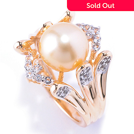 128-101 - 9-10mm Golden South Sea Cultured Pearl & White Topaz Ring