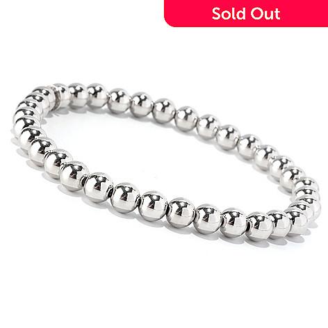 128-106 - Palatino™ Platinum Embraced™ 7'' Polished Beaded Stretch Bracelet