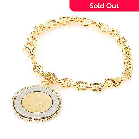 128-121 - Portofino 18K Gold Embraced™ 8'' Italian Lire Coin Charm Bracelet