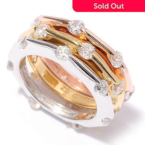 128-126 - Sonia Bitton 2.31 DEW Tri-color Tension Round Cut Simulated Diamond Band Ring Set