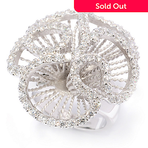 128-127 - Sonia Bitton 1.60 DEW Pave Abstract Simulated Diamond Flower Ring