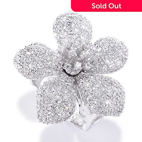 128-128 - Sonia Bitton Platinum Embraced™ 2.17 DEW Round Cut Simulated Diamond Pave Flower Ring