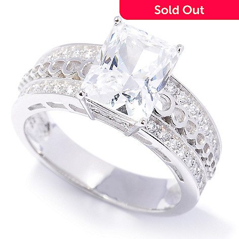 128-134 - Brilliante® Platinum Embraced™ 2.98 DEW Emerald Cut Simulated Diamond Ring