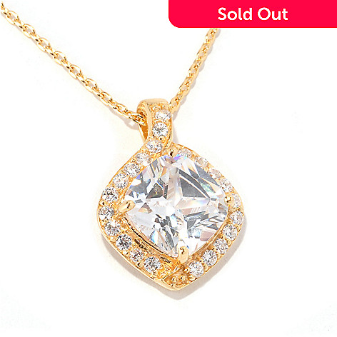 128-138 - Brilliante® 3.75 DEW Cushion Cut Halo Pendant w/ 18'' Chain