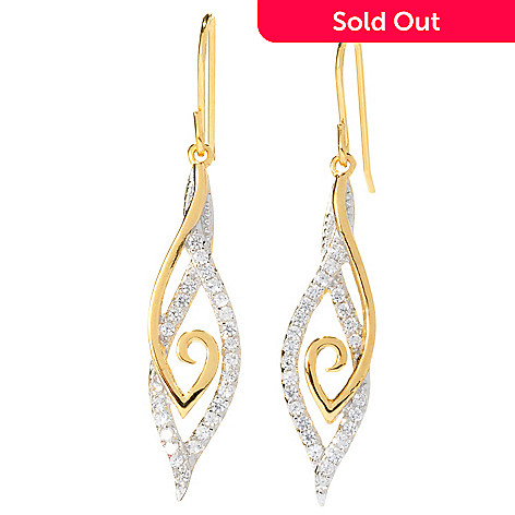 128-140 - Brilliante® 1.75'' Round Cut Prong Set Simulated Diamond Swirl Detail Drop Earrings