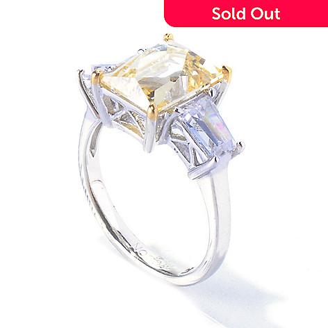 128-145 - TYCOON Two-tone 4.51 DEW Rectangular Cut Simulated Diamond Three-Stone Ring