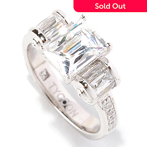 128-146 - TYCOON 2.52 DEW Polished Simulated Diamond TYCOON CUT Ring w/Roundel Sides