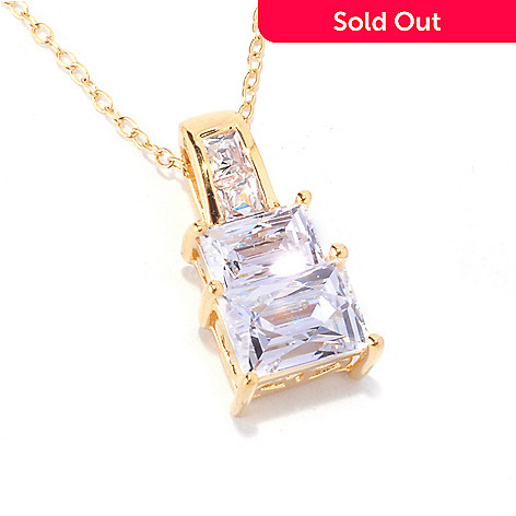 128-153 - TYCOON 1.59 DEW Polished Rectangular Cut Simulated Diamond Pendant w/ Chain