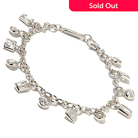 128-159 - TYCOON Platinum Embraced™ Multi-Cut Simulated Diamond Dangle Bracelet