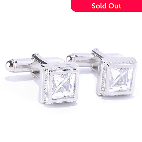 128-160 - TYCOON for Brilliante® Platinum Embraced™ 3.96 DEW Bezel Set Square Cuff Links