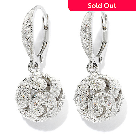 128-162 - Brilliante® Platinum Embraced™ 1.06 DEW Milgrain & Filigree Ball Drop Earrings