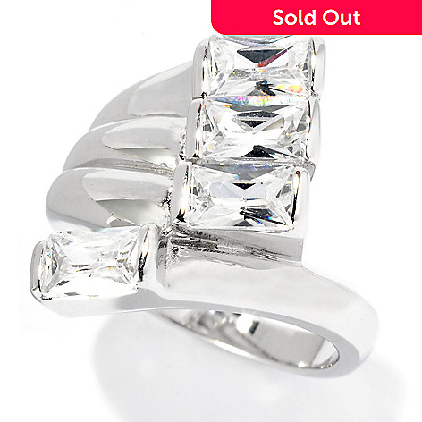 128-163 - Brilliante® Platinum Embraced™ 2.64 DEW Baguette Cut Simulated Diamond Bypass Ring