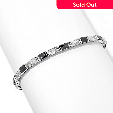 128-165 - Brilliante&reg Platinum Embraced™ Baguette Cut Black & White Simulated Diamond Tennis Bracelet