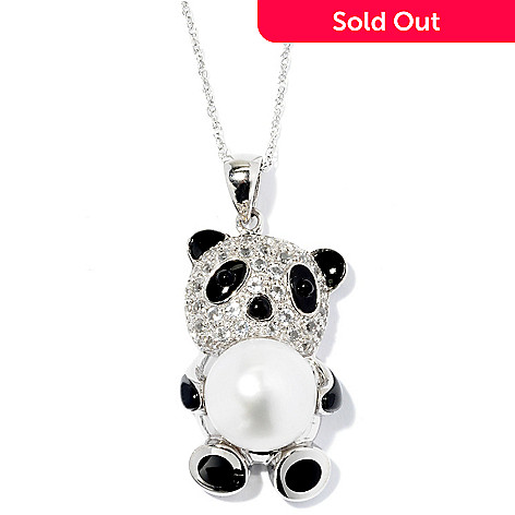 128-168 - Sterling Silver 12-13mm Freshwater White Cultured Pearl & Multi Gem Panda Pendant w/ Chain