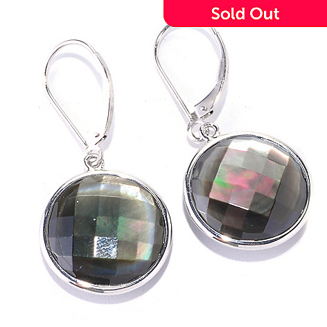 128-170 - Sterling Silver 16mm Round Faceted Black Mother-of-Pearl Earrings