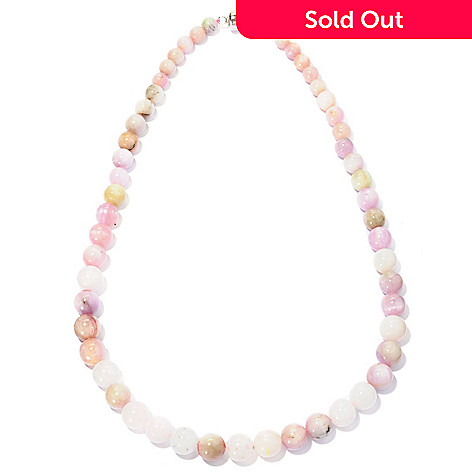 128-173 - Gem Treasures® Sterling Silver Kunzite Bead Necklace w/ Magnetic Clasp