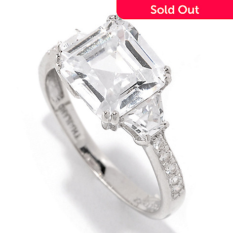 128-175 - Brilliante® Platinum Embraced™ 3.73 DEW Asscher, Trapezoid & Round Simulated Diamond Ring