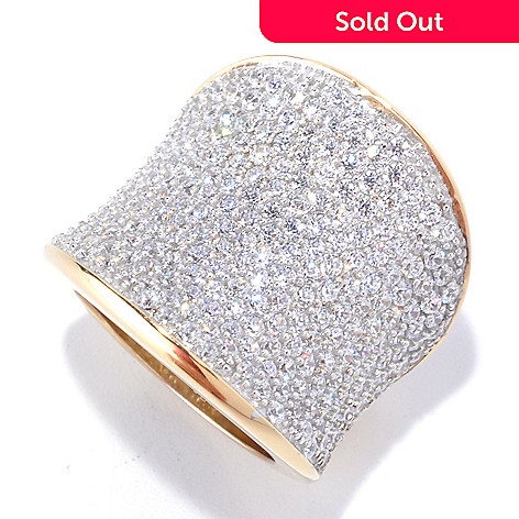 128-176 - Sonia Bitton Gold Embraced™ 3.86 DEW Simulated Diamond Bold Pave Concave Ring