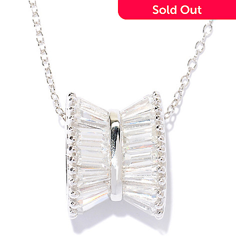 "128-178 - Brilliante® Platinum Embraced™ 7.60 DEW Baguette Bow Pendant w/ 18"" Chain"