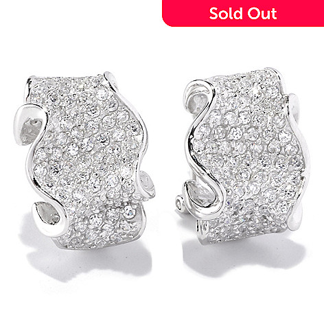 128-179 - Sonia Bitton 2.22 DEW Pave Set Simulated Diamond Ribbon Earrings w/ Omega Backs