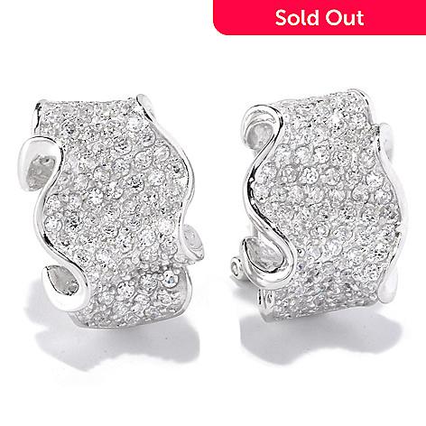 128-179 - Sonia Bitton 2.22 DEW Pave Set Simulated Diamond Ribbon Earrings w/ Omega Backs