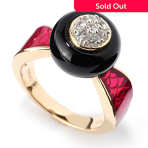 128-181 - Omar Torres 4.23ctw White Sapphire, Onyx & Pink Enamel Polished Ring