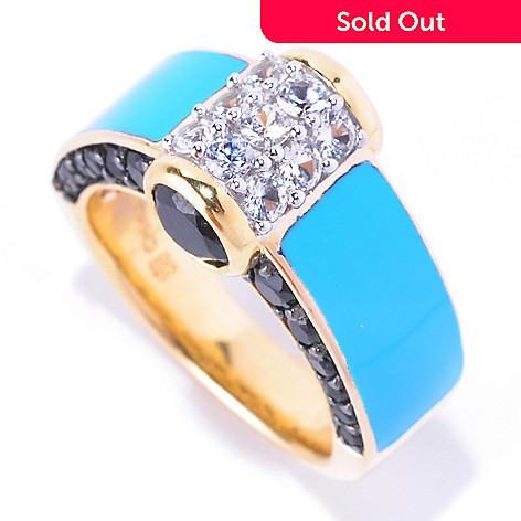128-185 - Omar Torres 2.28ctw Spinel, White Sapphire & Turquoise Enamel Ring