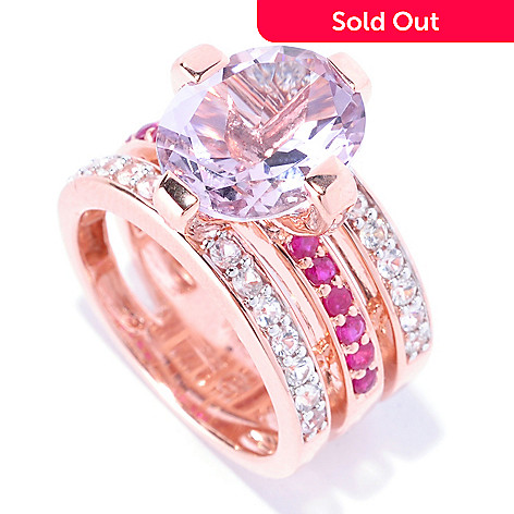 128-188 - Omar Torres 4.70ctw Pink Amethyst, Ruby & White Sapphire Three-Row Ring