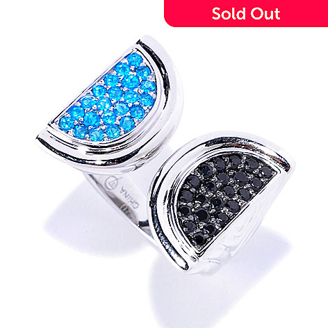 128-190 - Omar Torres Neon Blue Apatite & Black Spinel Double Half Moon Ring