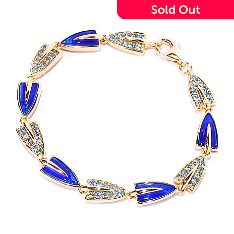 128-192 - Omar Torres 1.87ctw Swiss Blue Topaz & Royal Blue Enamel Link Bracelet
