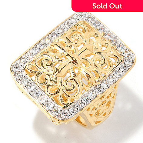 128-195 - Sonia Bitton Gold Embraced™ Round Cut Pave Set Simulated Diamond Filigree Ring
