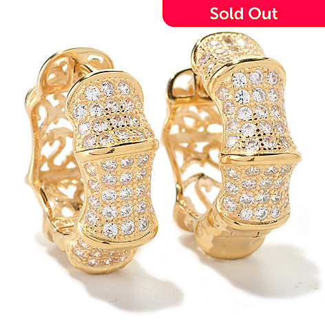 128-197 - Sonia Bitton 1.75 DEW Bamboo Simulated Diamond Design Huggie Hoop Earrings