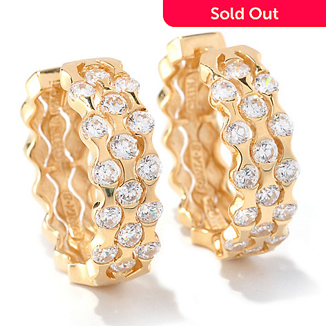 128-206 - Sonia Bitton 1.60 DEW Round Cut Three-Row Huggie Simulated Diamond Hoop Earrings