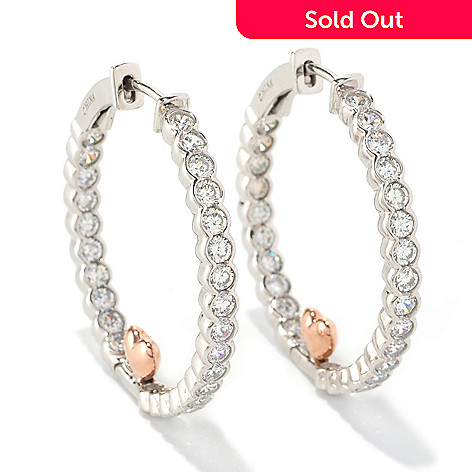 128-207 - Sonia Bitton for Brilliante® 2.70 DEW Two-tone Inside-out Heart Hoop Earrings