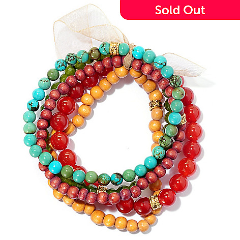 128-215 - mariechavez Set of Five 6.75'' Gemstone Beaded Bracelets