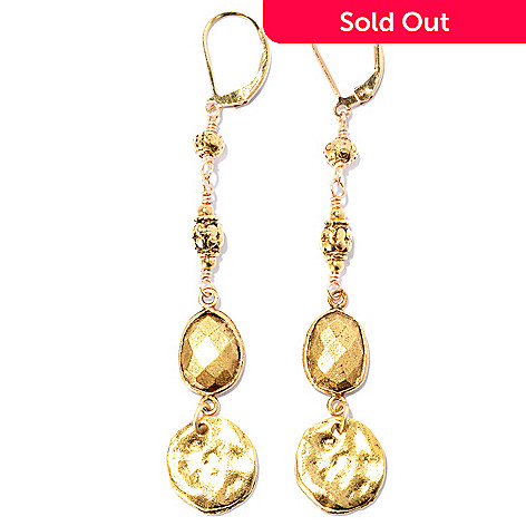 128-216 - mariechavez Textured Long Dangle Earrings