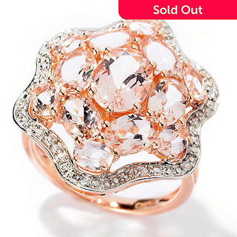 128-217 - Gem Treasures 14K Rose Gold 4.37ctw Peach Morganite & White Zircon Flower Ring