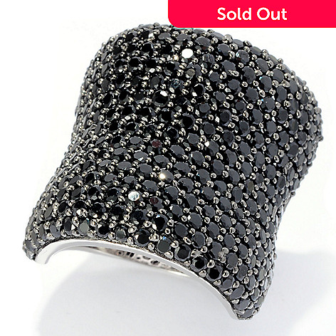 128-219 - Gem Treasures® Sterling Silver Pave Set Gemstone Wide Band Ring