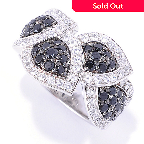 128-222 - Gem Treasures Sterling Silver 1.63ctw Black Spinel & White Zircon Leaf Ring
