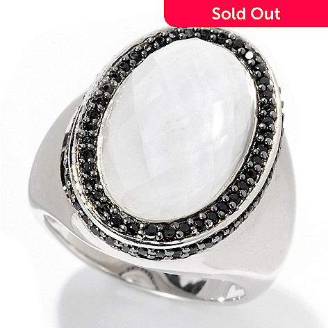 128-223 - Gem Treasures Sterling Silver 7.04ctw Oval White Quartz & Black Spinel Ring