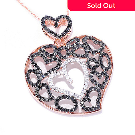 128-224 - Gem Treasures® 14K Rose Gold 1.26ctw Spinel & Zircon Multi Heart Pendant w/ Chain