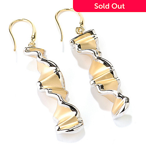 128-230 - Charles Garnier Matte & Polished Organza Twist Drop Earrings