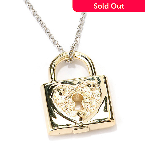 128-234 - Charles Garnier Gold Embraced™ Electroform Diamantini Heart Padlock Pendant