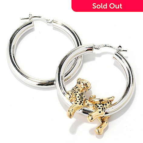 128-238 - Charles Garnier Electroform Enamel Cheetah Hoop Earrings