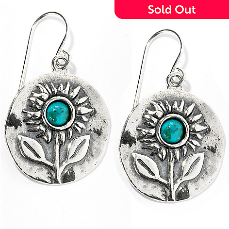 128-246 - Passage to Israel Sterling Silver Turquoise ''Field of Sunflowers''  Drop Earrings