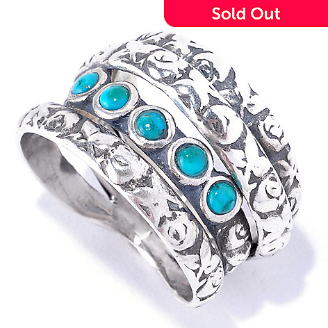 128-247 - Passage to Israel™ Sterling Silver Gemstone Textured Multi Band Ring